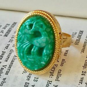Vintage AVON Poison ring green gold